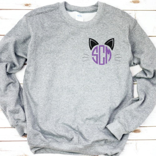Monogram Fall Sweatshirt - Pumpkin, Cat or Candy Corn!