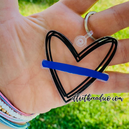Thin Blue Line Heart Sticker
