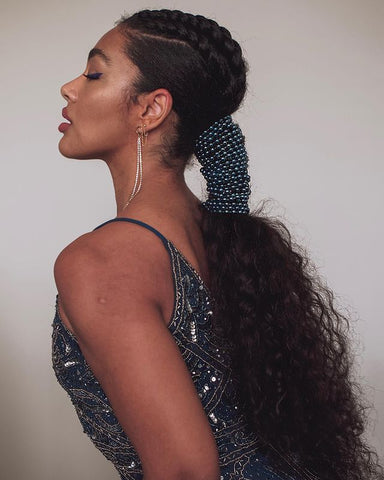 Beaded Rope Low Pony Holiday Hairstyle for Natural Hair