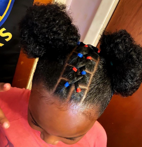 Space Buns with Rubber Band details