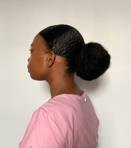 Natural Hair stretched in a Bun