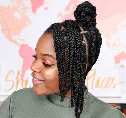 Influencer Briana Lynee Wearing Braided Updo Protective Style