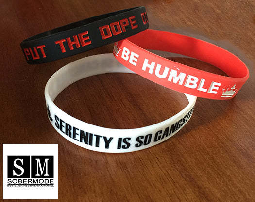 Hustle Hope, Serenity,Fuck Dope, 3 Pack Rubber Wristbands