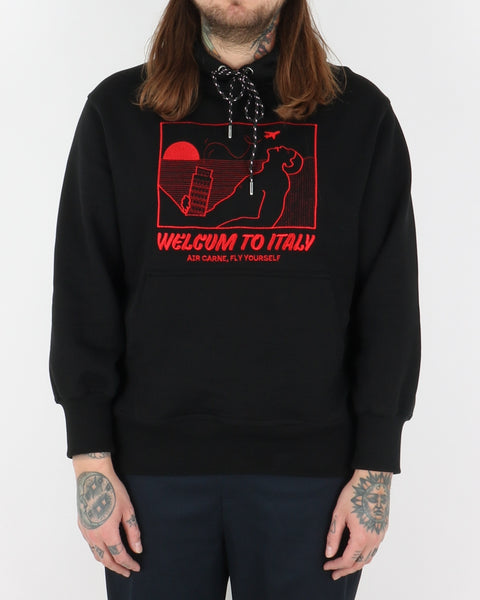 carne bollente_welcum to italy hoodie_black_1_3