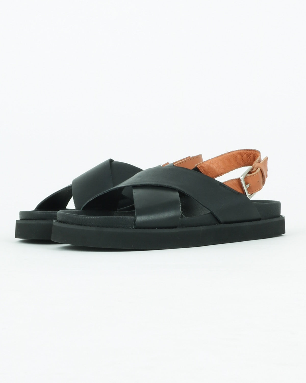 Yodo Sandals, Black/Cognac Leather