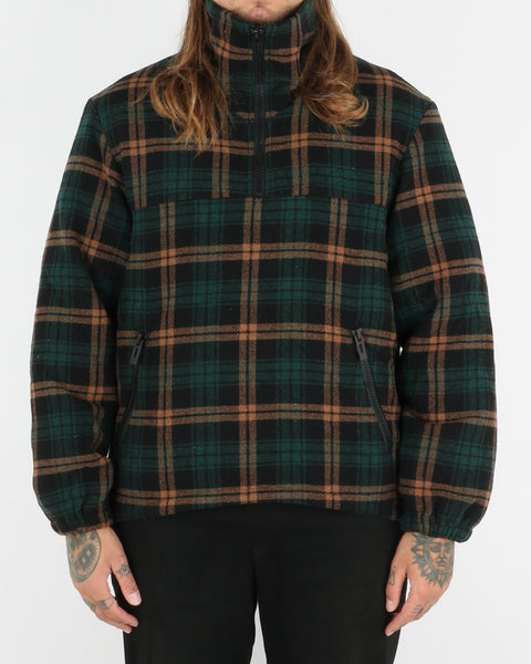 han kjobenhavn_ wool anorak_green check_view_1_3