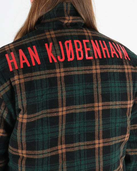 han kjobenhavn_ wool anorak_green check_view_3_3