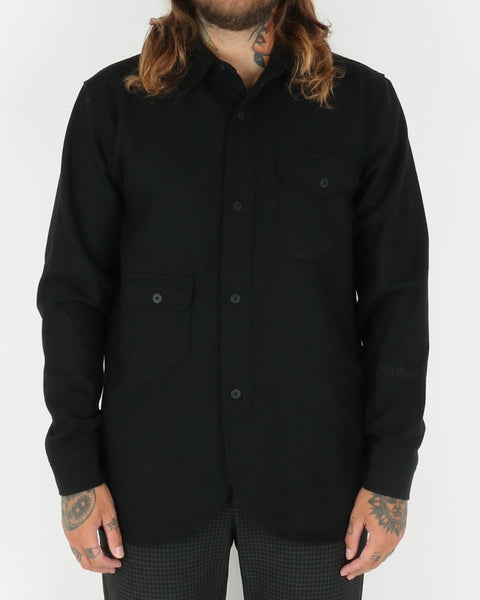 han kjobenhavn_army shirt_black wool_view_1_4