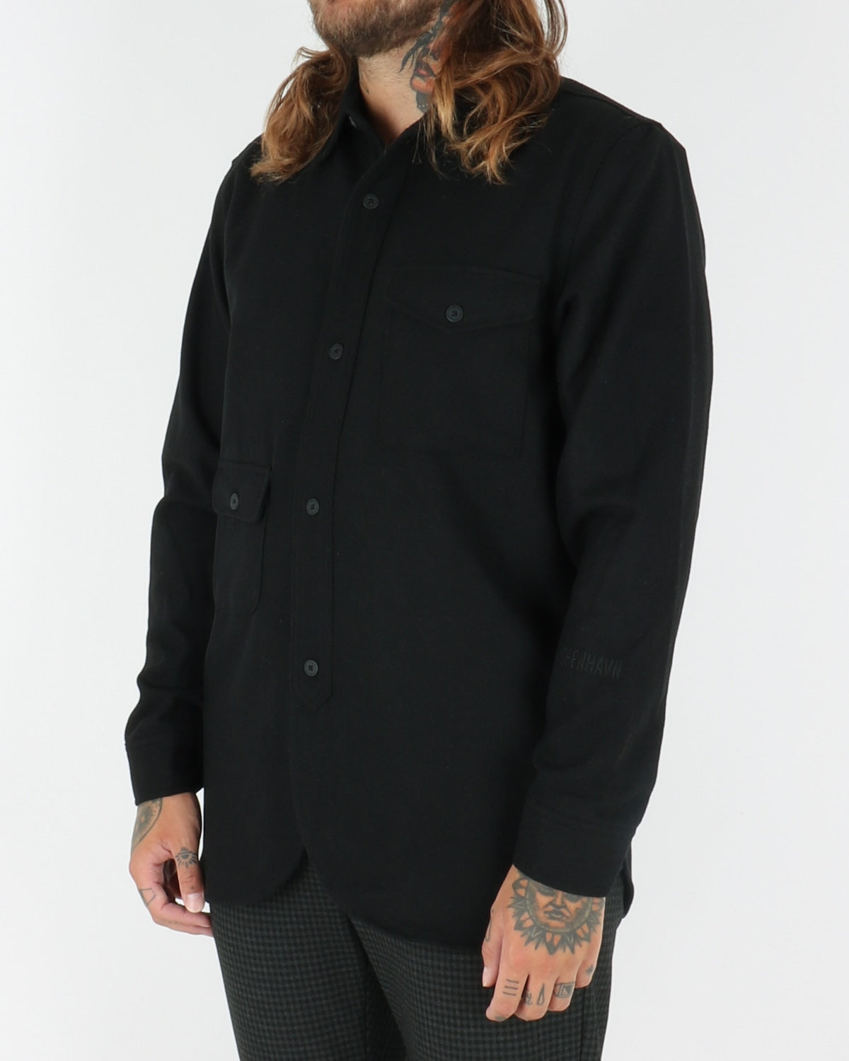han kjobenhavn_army shirt_black wool_view_2_4