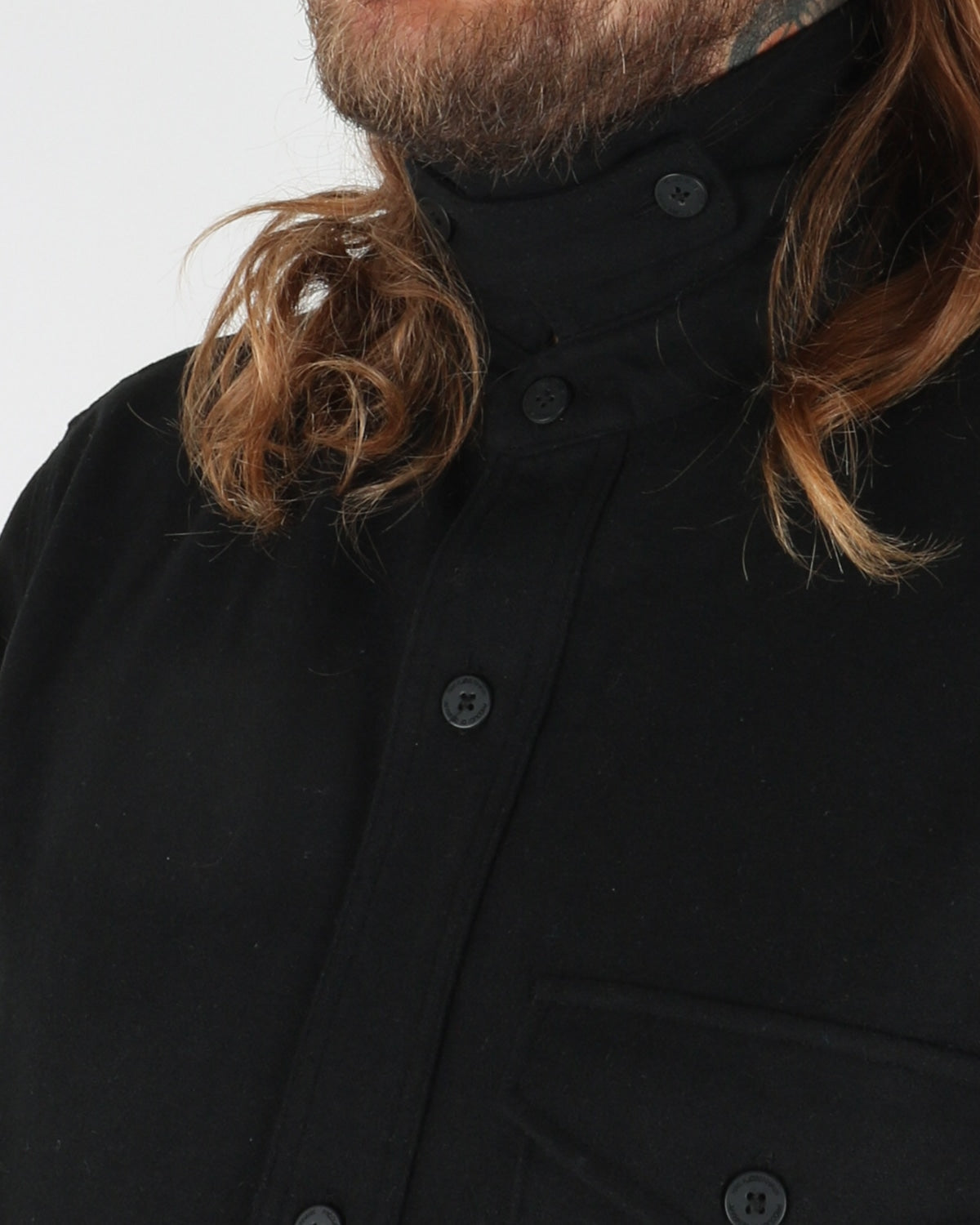han kjobenhavn_army shirt_black wool_view_4_4