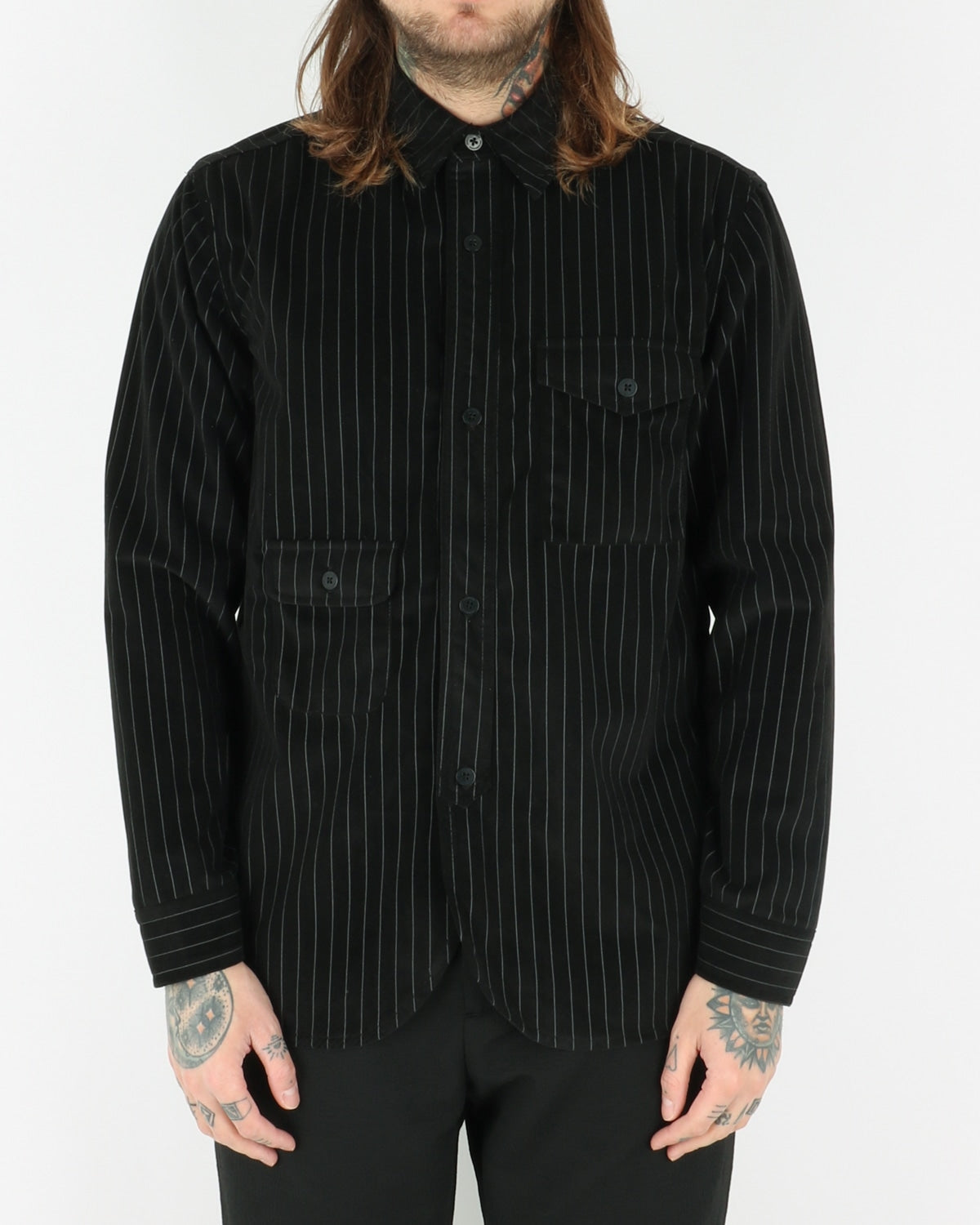 han kjobenhavn_army shirt_pinstripe_velour black_view_1_3
