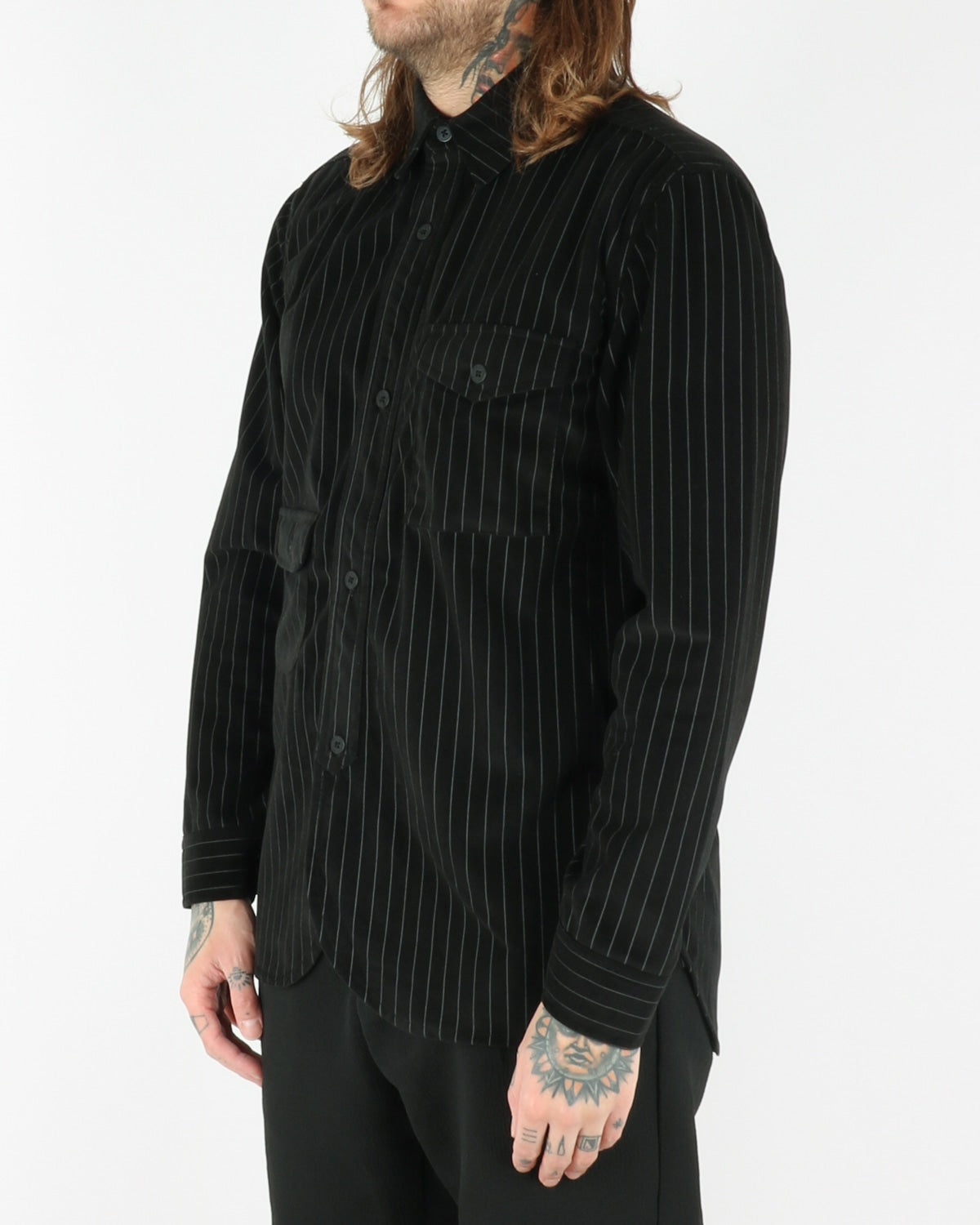 han kjobenhavn_army shirt_pinstripe_velour black_view_2_3