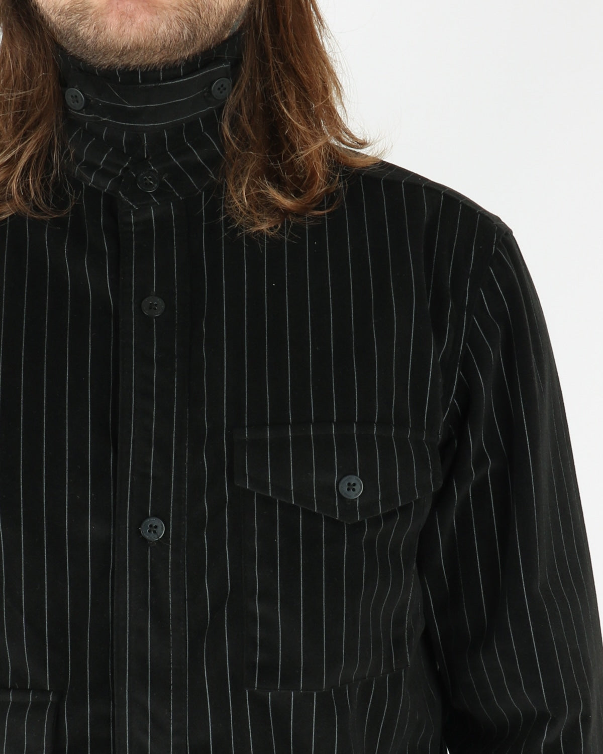 han kjobenhavn_army shirt_pinstripe_velour black_view_3_3