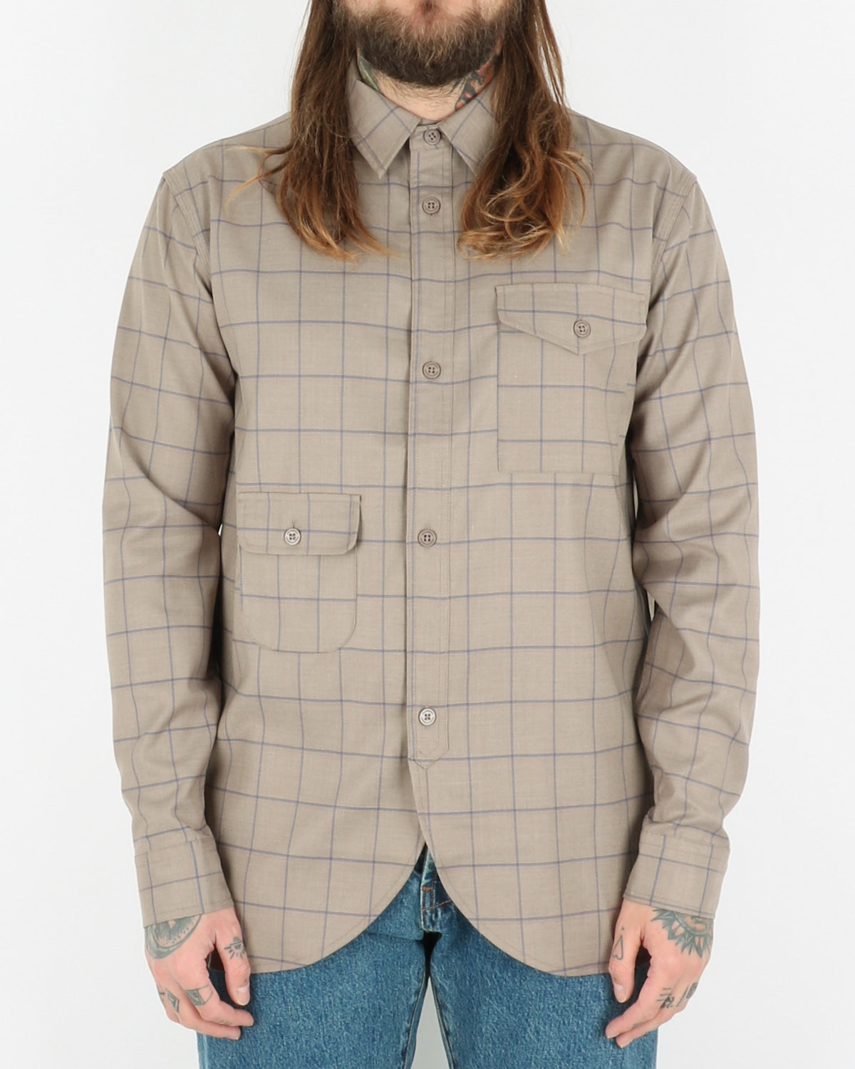 han kjobenhavn_army shirt_sand windowpane_1_3