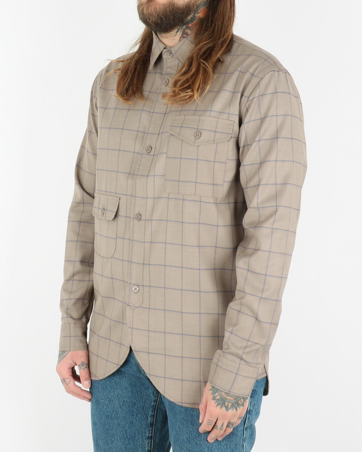 han kjobenhavn_army shirt_sand windowpane_2_3
