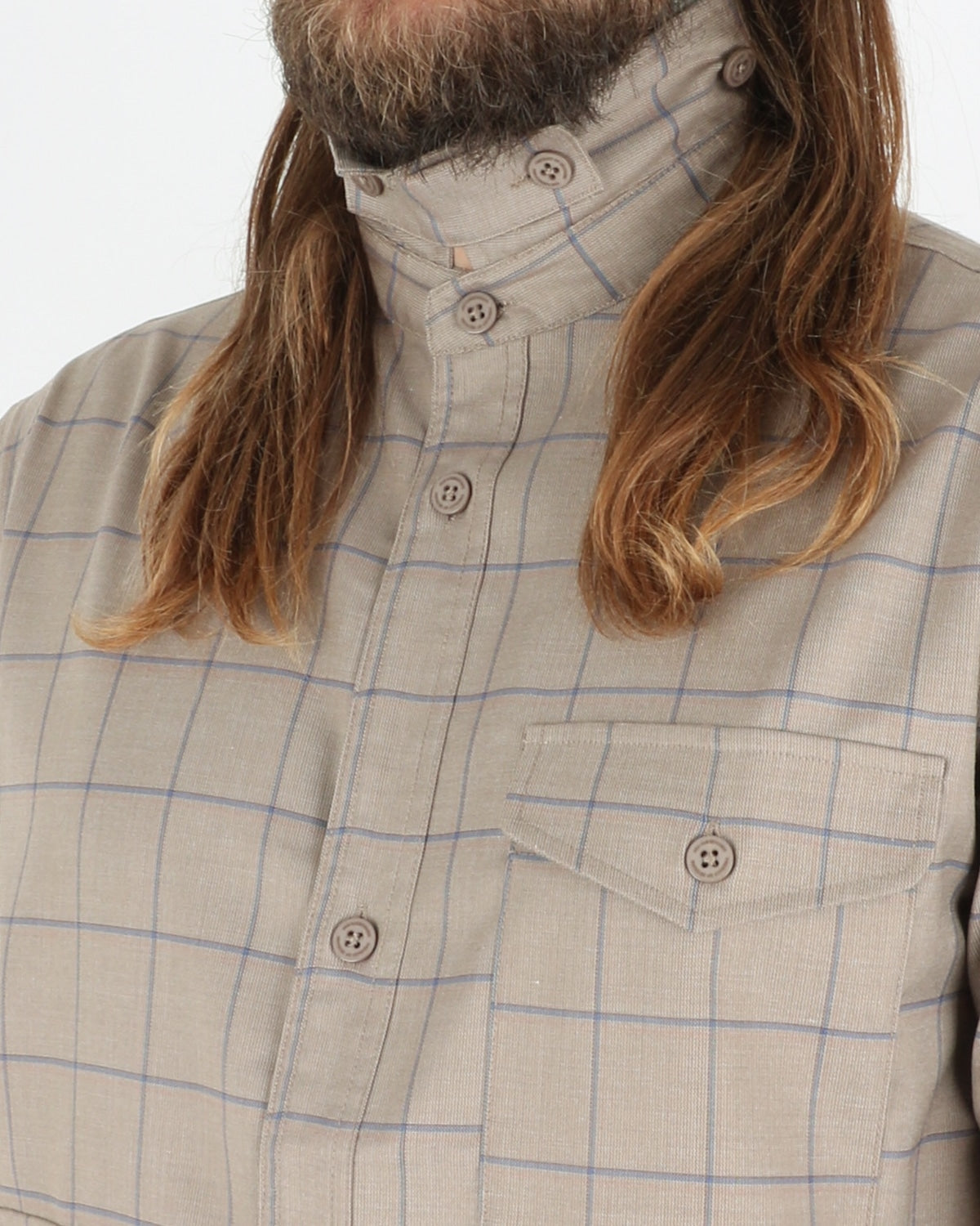 han kjobenhavn_army shirt_sand windowpane_3_3