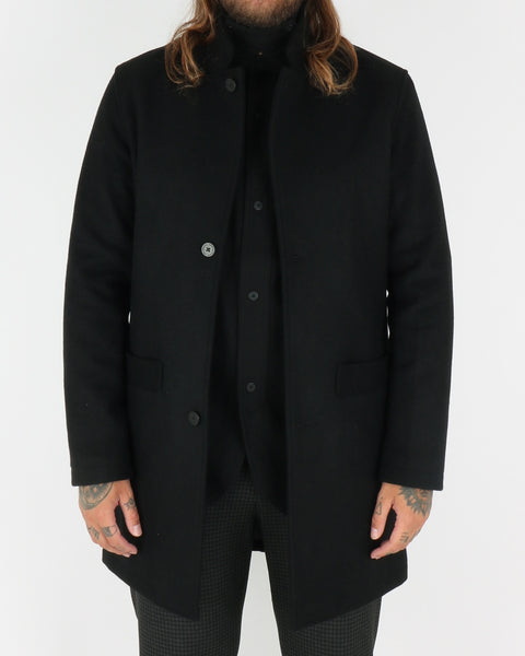 han kjobenhavn_bankers trench coat_black wool_view_1_3