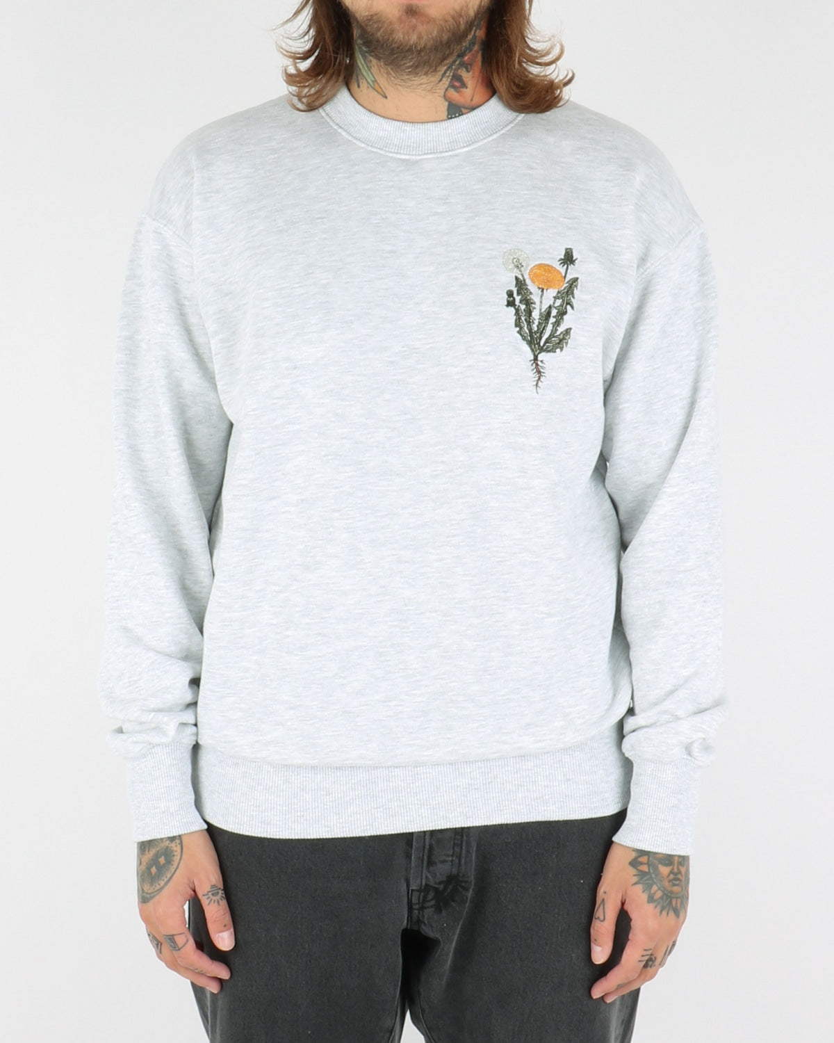 han kjobenhavn_casual crew sweatshirt flower_light grey_view_1_3