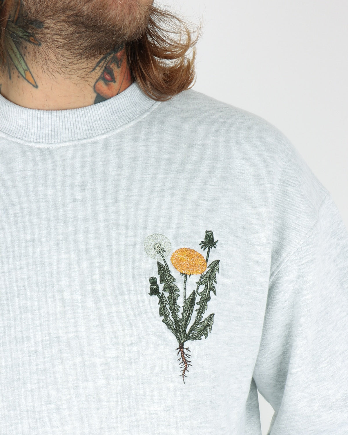 han kjobenhavn_casual crew sweatshirt flower_light grey_view_3_3