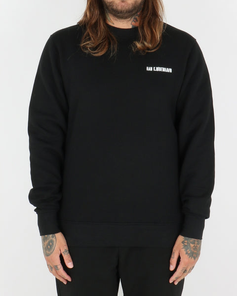han kjobenhavn_casual crew_black chest logo_view_1_3