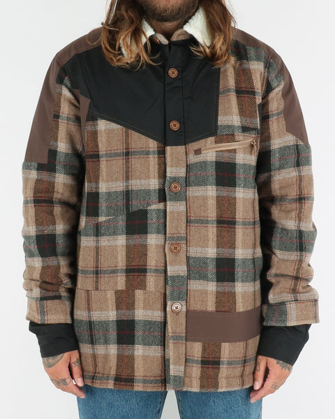 han kjobenhavn_coach jacket_brown check_view_1_3
