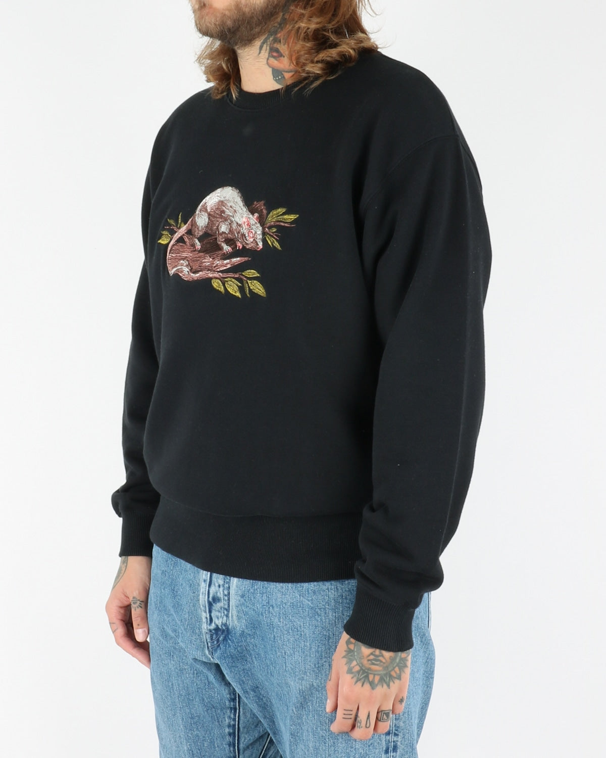 Heavy Crew Neck Rat , black