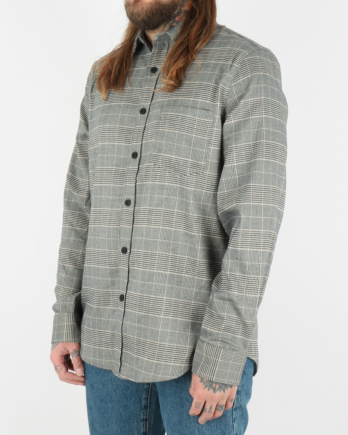 han kjobenhavn_one pocket shirt_grey tweed_2_4