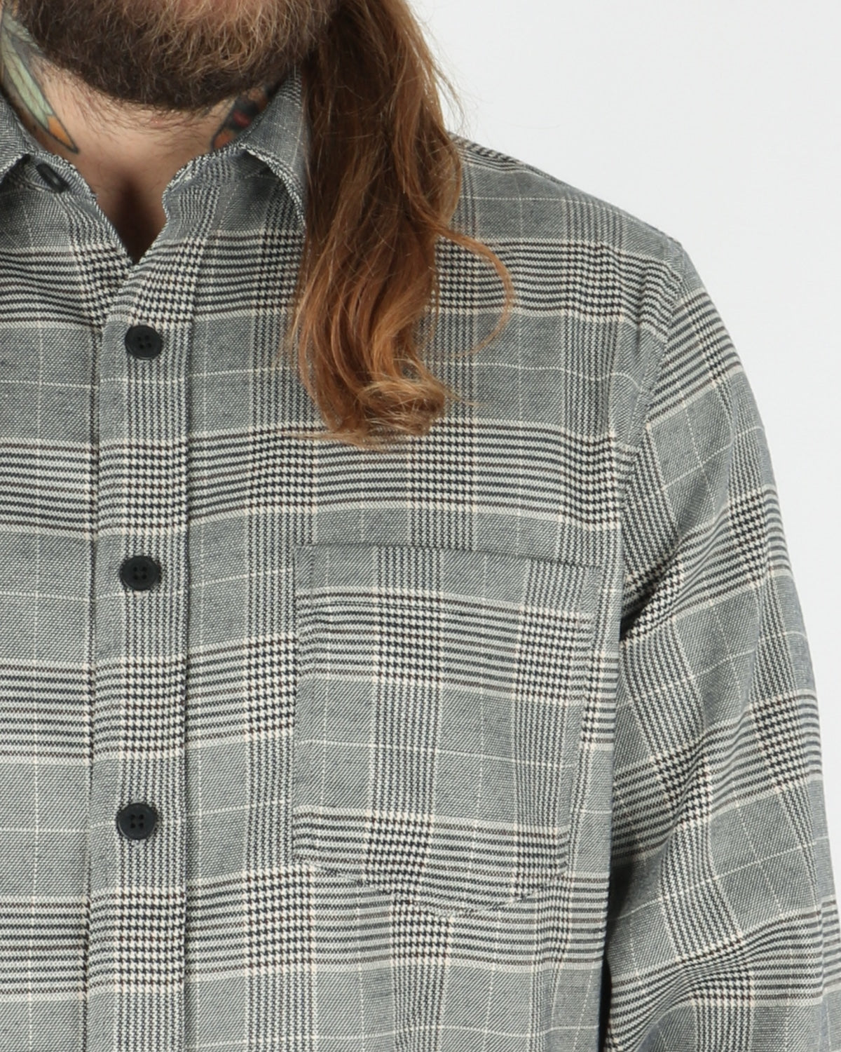 han kjobenhavn_one pocket shirt_grey tweed_3_4