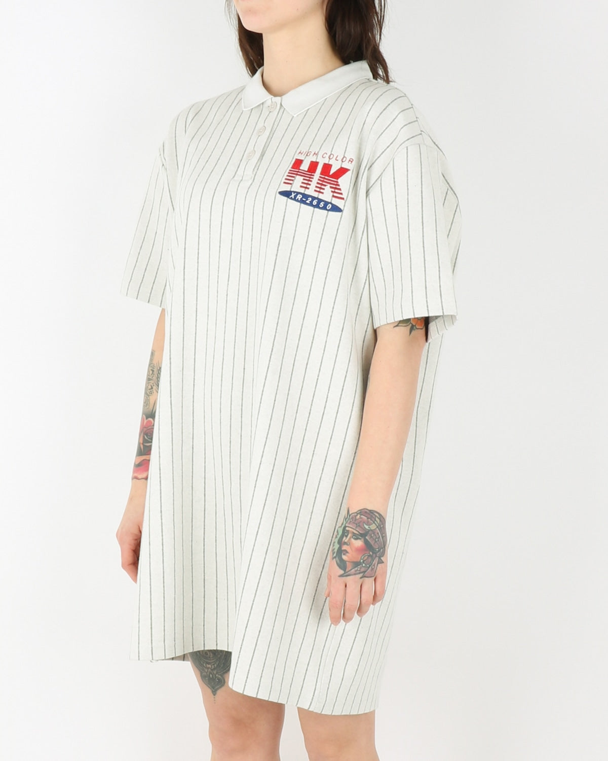 han kjobenhavn_polo dress_pinstripe white_2_3