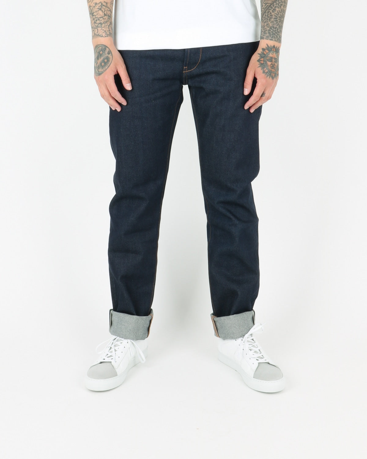 han kjobenhavn_tapered jeans_dark blue raw_view_1_3