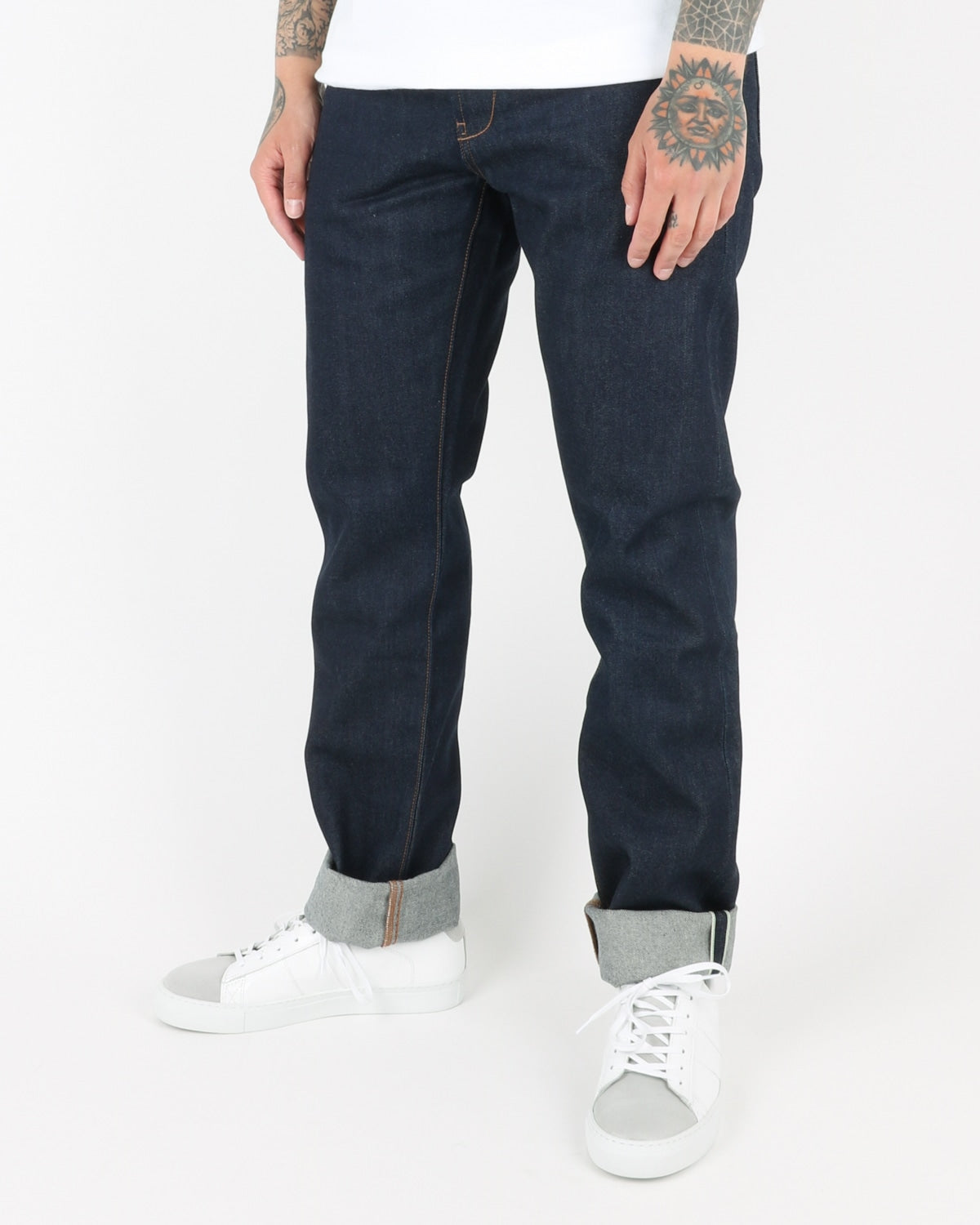 han kjobenhavn_tapered jeans_dark blue raw_view_3_3