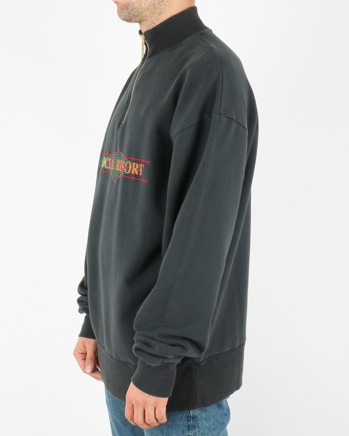 han kjobenhavn_half zip sweat_faded black_2_3