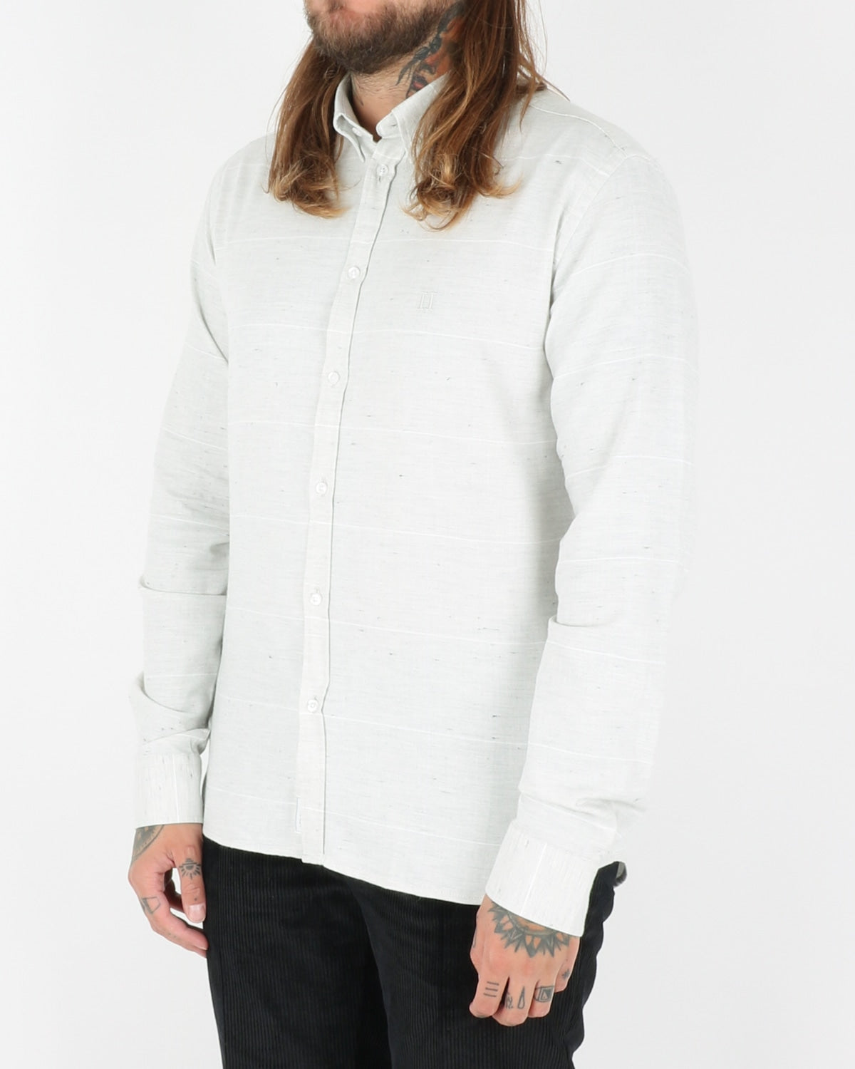 les deux_camus check shirt_snow mel white_3_3