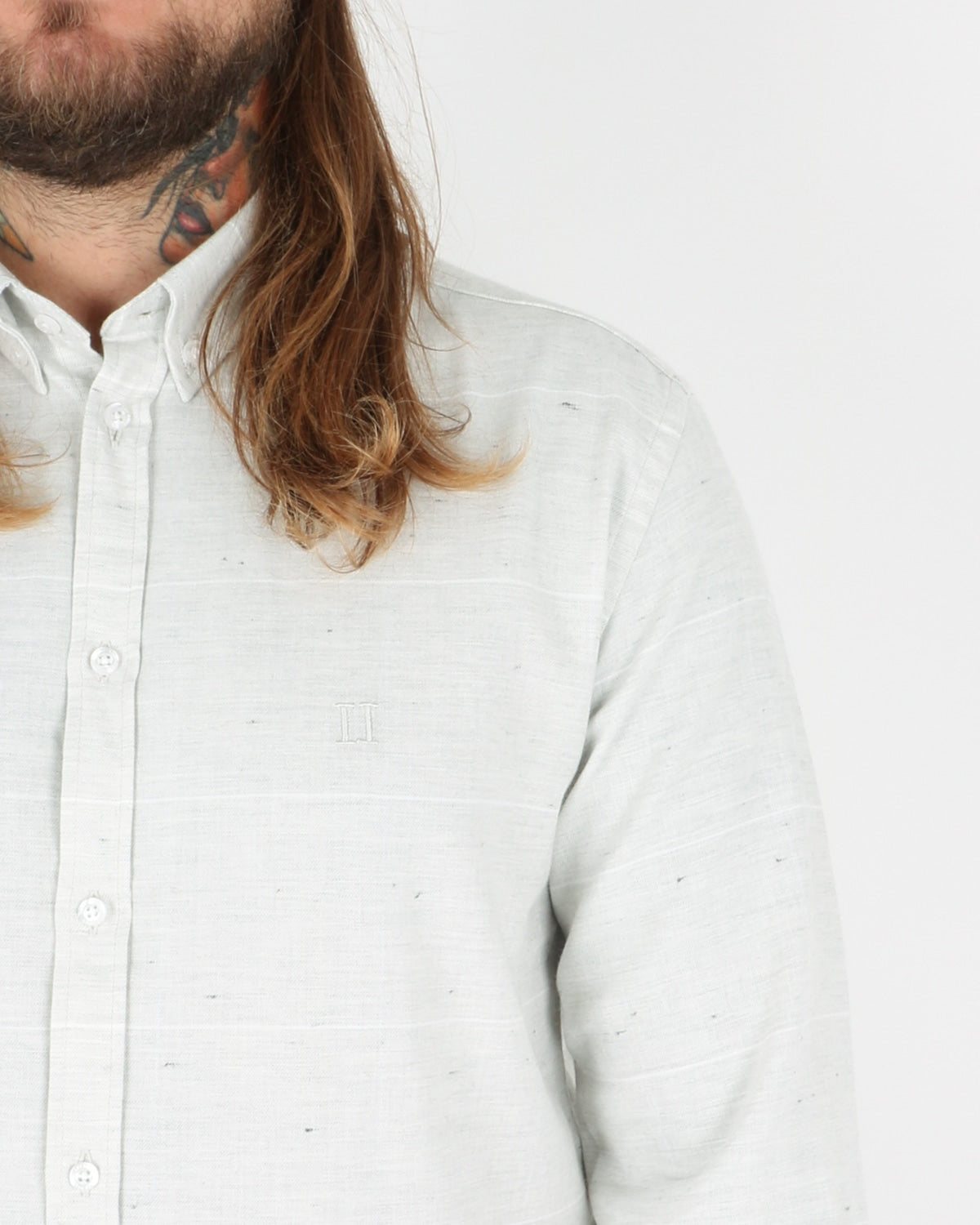 les deux_camus check shirt_snow mel white_2_3