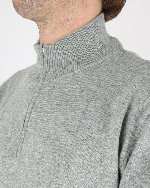 les deux_cashmerino zipper knit_light grey melange_4_4