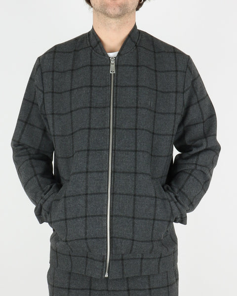 les deux_como wool check bomber_charcoal black_1_4