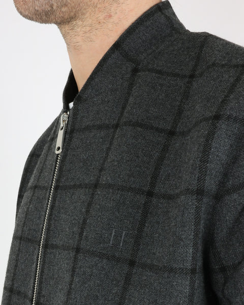 les deux_como wool check bomber_charcoal black_4_4