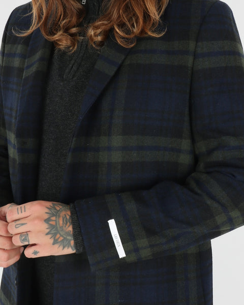 Les Deux Frielle Tailored Check Coat, green navy