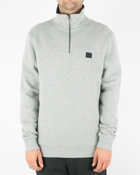 les deux_clinton half zip sweatshirt_light grey mel black_1_3