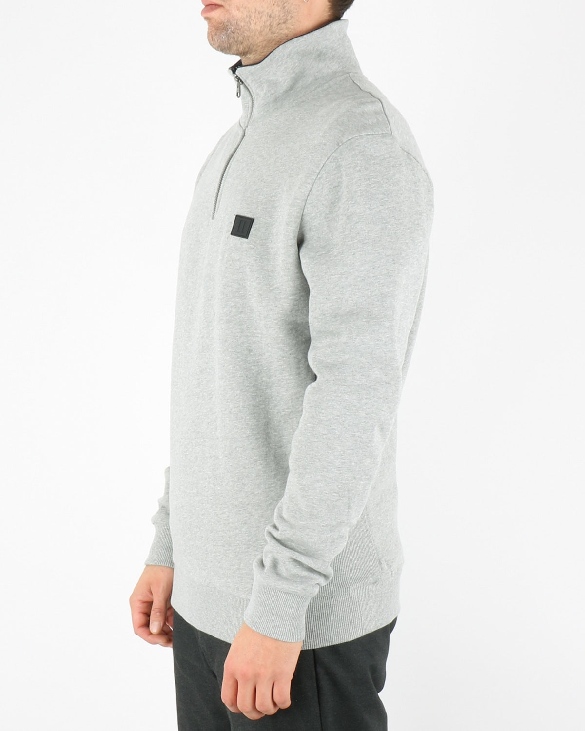les deux_clinton half zip sweatshirt_light grey mel black_2_3