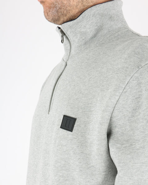 les deux_clinton half zip sweatshirt_light grey mel black_3_3