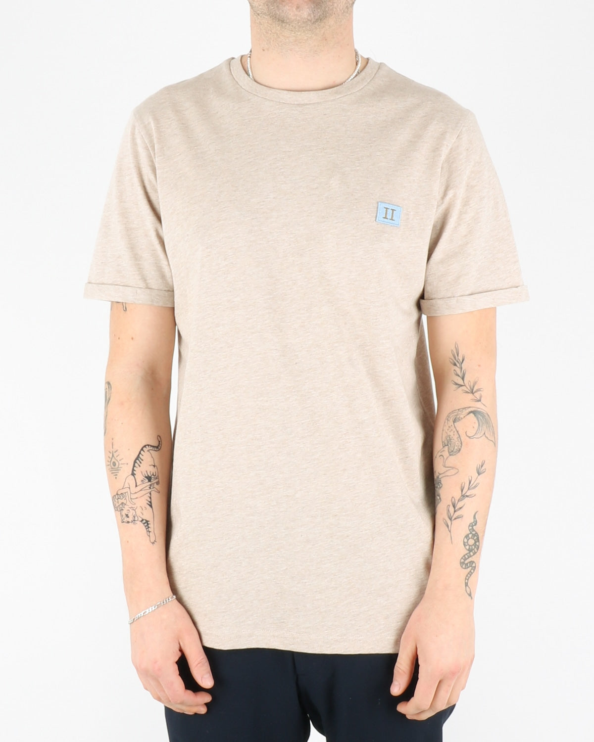 les deux_piece T-Shirt_ight brown melange dusty blue stone brown_1_3