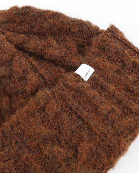 Brushed Cable Beanie, pure umber
