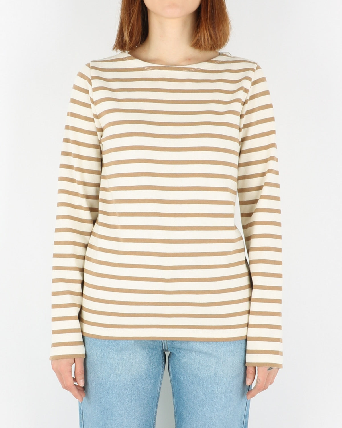 norse projects_inge classic stripe sweatshirt_camel_view_1_3