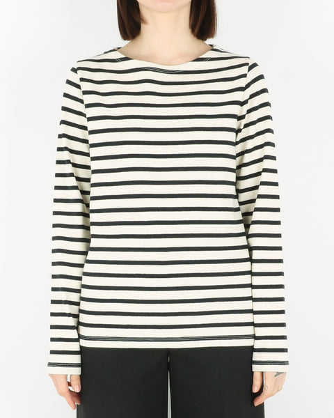 norse projects women_inge classic stripe sweatshirt_ecru_view_1_2