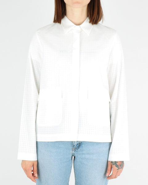 norse projects women_silkeborg tonal check shirt_white_view_2_4