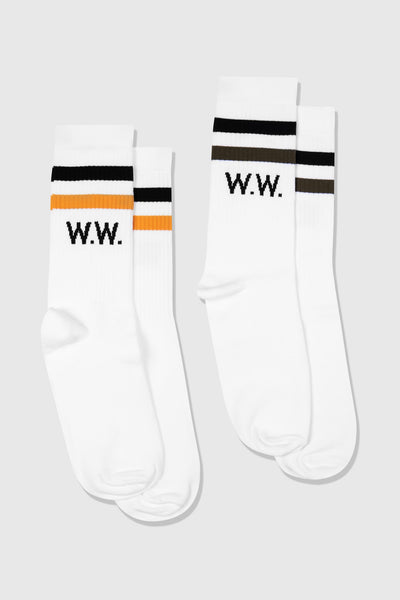 Gail 2- Pack Socks, white stripes