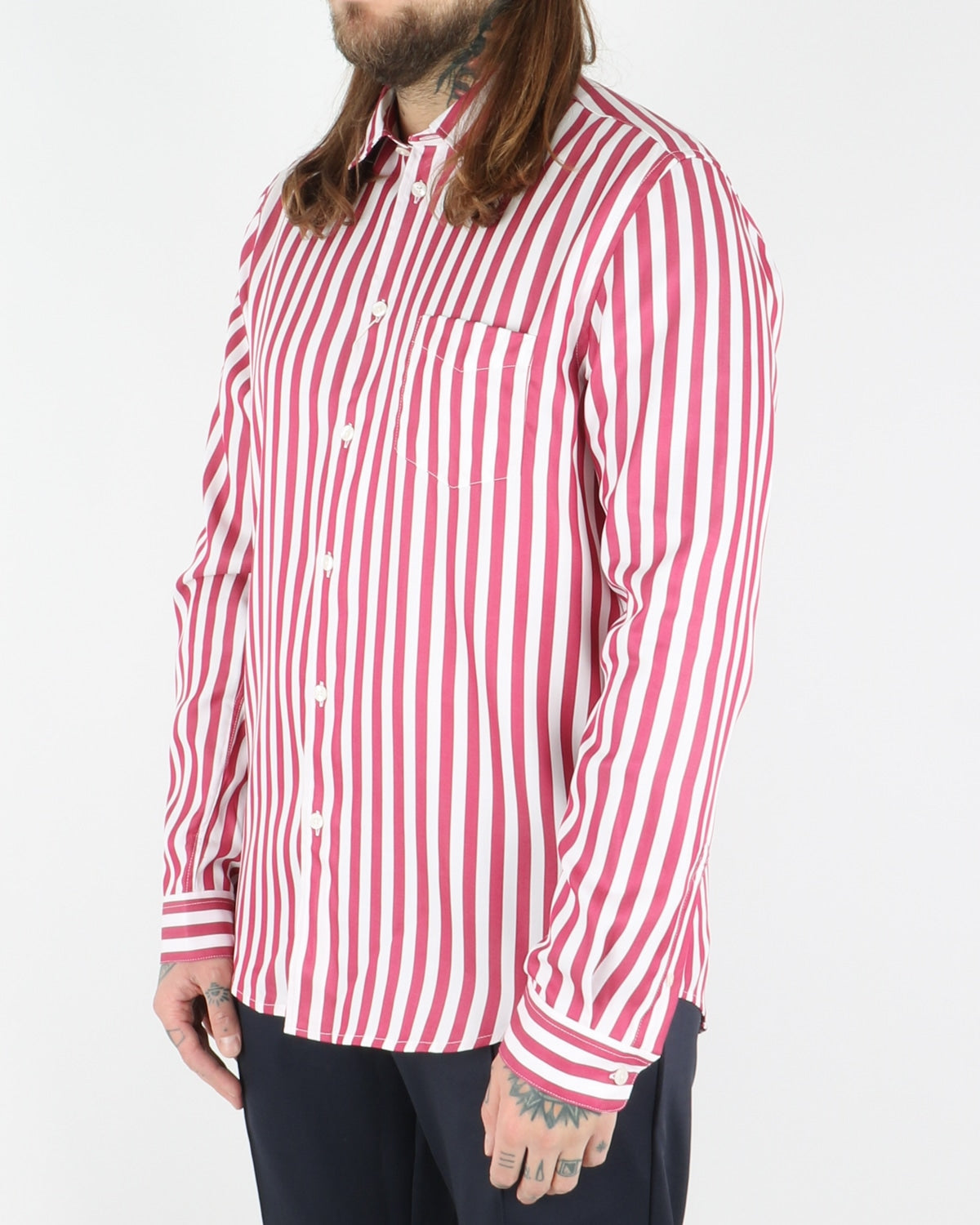 samsoe samsoe_liam shirt_brick red stripes_view_2_3