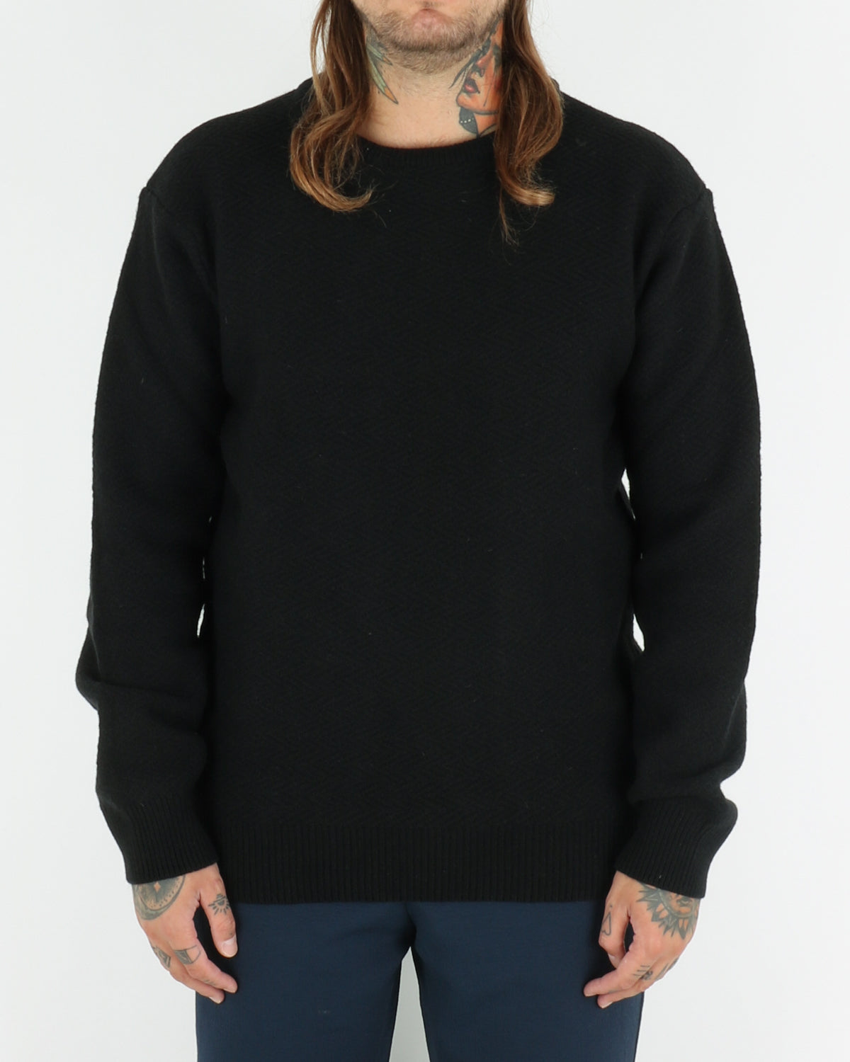 soulland_cassidy herringbone sweater_black_view_1_3