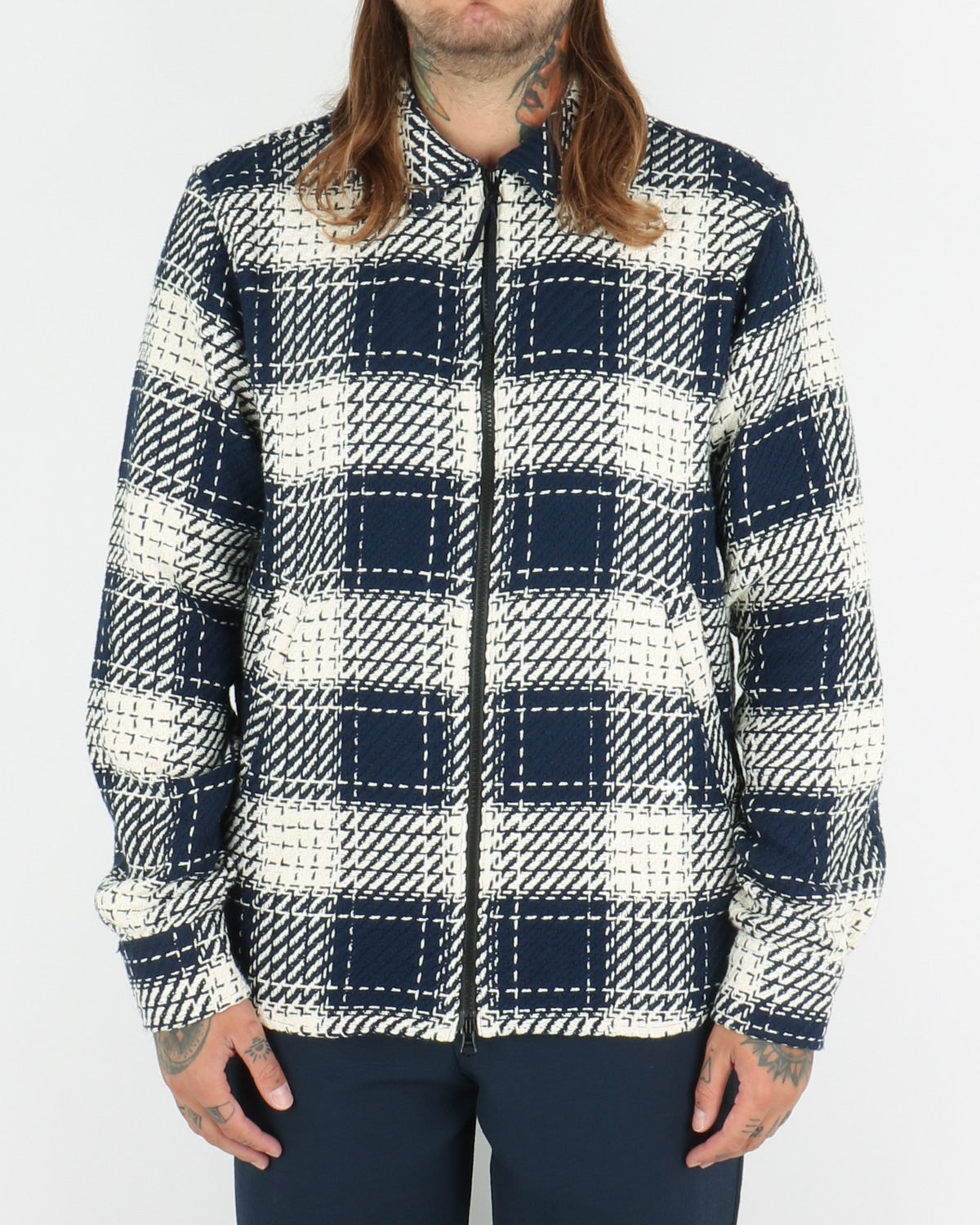 soulland_mapp light zip jacquard jacket_navy white_view_1_3